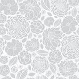 Progettazione d'argento del fondo del modello di ripetizione di Grey White Mosaic Flowers Seamless di vettore Grande per gli invi Immagine Stock Libera da Diritti