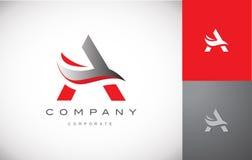 Progettazione d'argento grigia rossa dell'icona di logo della lettera A di alfabeto Immagini Stock Libere da Diritti