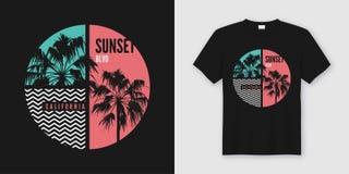 Progettazione d'avanguardia della maglietta e dell'abito di California di boulevard di tramonto con PA royalty illustrazione gratis
