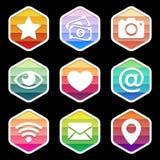 Progettazione d'avanguardia delle icone dell'applicazione sul nero Vettore Fotografia Stock Libera da Diritti
