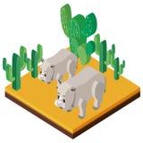 progettazione 3D per due rinoceronti e cactus Fotografia Stock Libera da Diritti