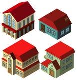 progettazione 3D per gli stili differenti delle case Fotografie Stock Libere da Diritti