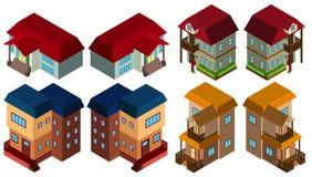 progettazione 3D per gli stili differenti delle case Fotografia Stock