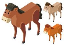 progettazione 3D per i cavalli in tre colori illustrazione di stock