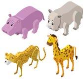progettazione 3D per i tipi differenti di animali Fotografia Stock