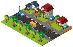 progettazione 3D per la città con le case e le automobili Fotografia Stock
