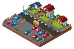 progettazione 3D per la scena della città con le case e le automobili Fotografia Stock