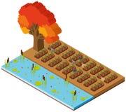 progettazione 3D per le carote ed i conigli in azienda agricola royalty illustrazione gratis