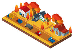 progettazione 3D per le case in neigborhood nella stagione di caduta Fotografie Stock Libere da Diritti