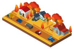 progettazione 3D per le case in neigborhood nella stagione di caduta Fotografia Stock