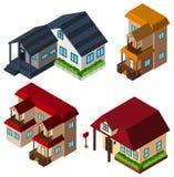 progettazione 3D per le case nello stile differente Immagini Stock