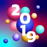progettazione 3D progettazione variopinta della bolla da 2019 buoni anni Modello premio festivo di progettazione per la cartolina illustrazione vettoriale