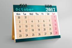 Progettazione da tavolino 2017 del calendario illustrazione vettoriale