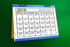 Progettazione da tavolino del calendario, agosto 2018 illustrazione vettoriale