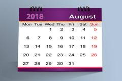 Progettazione da tavolino del calendario, agosto 2018 illustrazione di stock