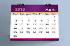 Progettazione da tavolino del calendario, aprile 2018 royalty illustrazione gratis