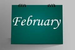Progettazione da tavolino del calendario di febbraio illustrazione vettoriale