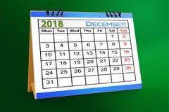 Progettazione da tavolino del calendario, dicembre 2018 illustrazione vettoriale
