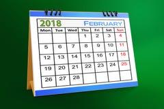 Progettazione da tavolino del calendario, febbraio 2018 royalty illustrazione gratis