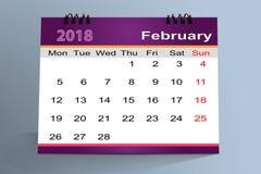Progettazione da tavolino del calendario, febbraio 2018 illustrazione vettoriale