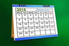 Progettazione da tavolino del calendario, gennaio 2018 illustrazione di stock