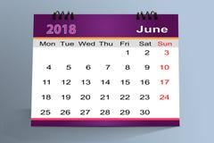Progettazione da tavolino del calendario, giugno 2018 illustrazione vettoriale