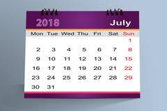 Progettazione da tavolino del calendario, luglio 2018 illustrazione di stock