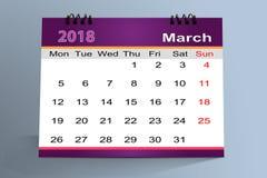Progettazione da tavolino del calendario, marzo 2018 illustrazione di stock