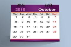 Progettazione da tavolino del calendario, ottobre 2018 illustrazione vettoriale