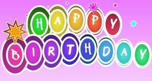 Progettazione decorativa Colourful di buon compleanno su un fondo rosa di pendenza illustrazione vettoriale