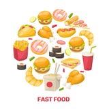 Progettazione degli alimenti a rapida preparazione illustrazione vettoriale