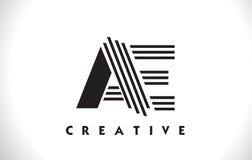 Progettazione degli EA Logo Letter With Black Lines Linea vettore Illus della lettera Immagini Stock Libere da Diritti