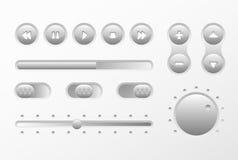 Progettazione degli elementi di musica di web UI UX fissata: Bottoni, scambisti, cursore, caricatore Fotografia Stock Libera da Diritti