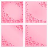 Progettazione dei cuori per il giorno del ` s del biglietto di S. Valentino Invito per i partiti, nozze, annunci del bambino Mode Immagine Stock Libera da Diritti