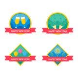 Progettazione dei distintivi di celebrazione del nuovo anno royalty illustrazione gratis