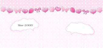 Progettazione del bambino nei colori rosa Modello senza cuciture con i cuori, archi Fotografia Stock Libera da Diritti