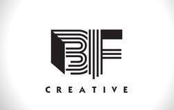 Progettazione del BF Logo Letter With Black Lines Linea vettore Illus della lettera Immagine Stock Libera da Diritti