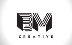 Progettazione del BM Logo Letter With Black Lines Linea vettore Illus della lettera Immagine Stock