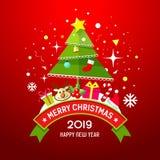 Progettazione del buon anno della scatola dell'albero e di regalo di Buon Natale royalty illustrazione gratis
