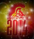 Progettazione del buon anno 2014 di vettore con il cavallo Fotografia Stock Libera da Diritti