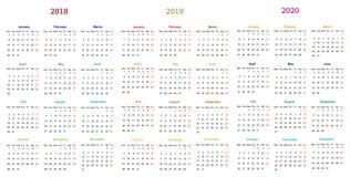 progettazione 2018-2019-2020 del calendario da 12 mesi illustrazione di stock