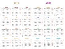 progettazione 2019-20120 del calendario da 12 mesi royalty illustrazione gratis