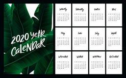 Progettazione del calendario di vettore per 2020 Metta di 12 pagine del calendario con la copertura tropicale royalty illustrazione gratis