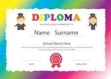 Progettazione del certificato del diploma della scuola elementare dei bambini della scuola materna Immagini Stock Libere da Diritti