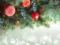Progettazione del confine della decorazione dell'albero di Natale Fotografia Stock