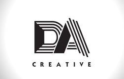 Progettazione del DA Logo Letter With Black Lines Linea vettore Illus della lettera Immagine Stock