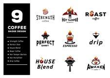 Progettazione del distintivo del caffè nove Fotografie Stock Libere da Diritti