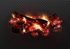 Progettazione del falò d'ardore realistico con i carboni e le fiamme del fuoco Illustrazione di vettore di fuoco di accampamento  royalty illustrazione gratis
