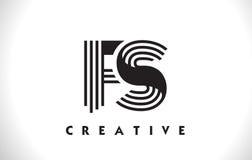 Progettazione del FS Logo Letter With Black Lines Linea vettore Illus della lettera Fotografie Stock