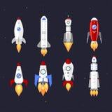 Progettazione del fumetto del razzo della nave di tecnologia di vettore Fotografia Stock Libera da Diritti